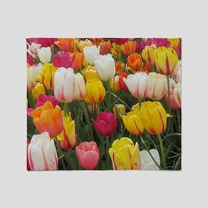 Spring Tulip Field Throw Blanket