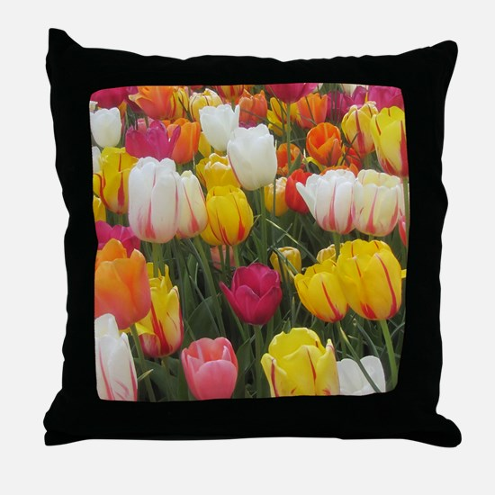 Spring Tulip Field Throw Pillow