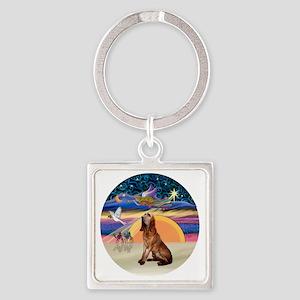 R-XmasAngel-Bloodhound Square Keychain