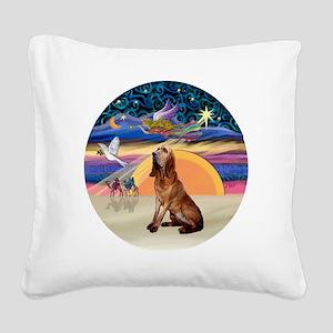 R-XmasAngel-Bloodhound Square Canvas Pillow