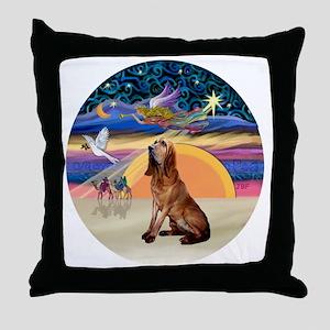 R-XmasAngel-Bloodhound Throw Pillow