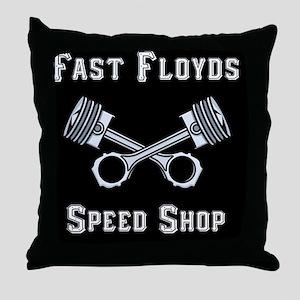 Fast Floyds Speed Shop Throw Pillow