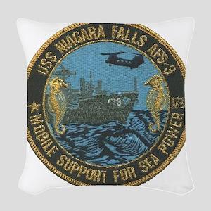 uss niagara falls patch transp Woven Throw Pillow