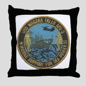 uss niagara falls patch transparent Throw Pillow