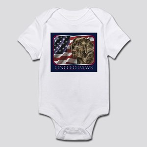 Chocolate Lab Retriever US Flag Infant Bodysuit