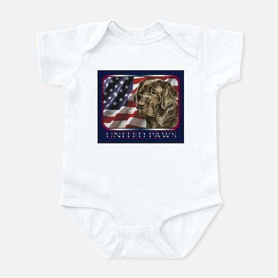 Chocolate Lab Retriever US Flag Infant Bodysuit