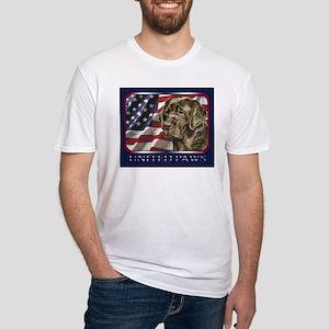 Chocolate Lab Retriever US Flag Fitted T-Shirt