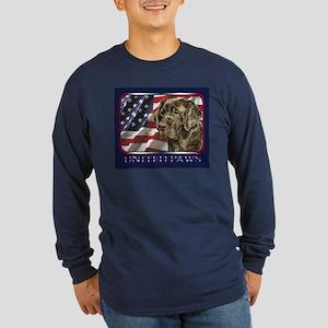 Chocolate Lab US Flag Lab Long Sleeve Dark T-Shirt