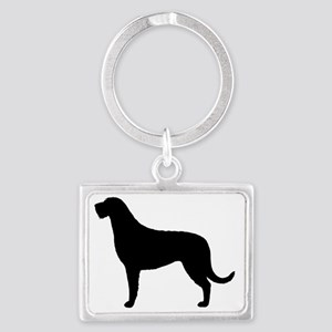 irishwolfhoundblk Landscape Keychain