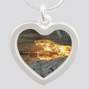 Pictured Rocks B Silver Heart Necklace