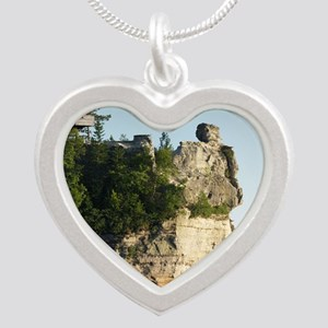 Pictured Rocks C Silver Heart Necklace