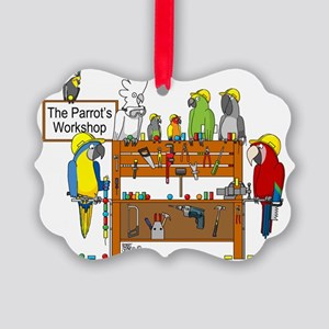 The Parrot's Workshop Logo Picture Ornament