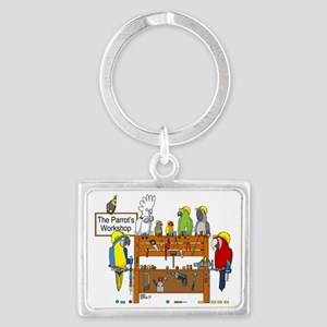 The Parrot's Workshop Logo Landscape Keychain