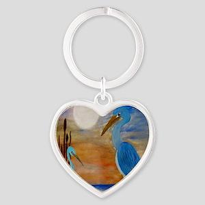 Blue Heron Heart Keychain