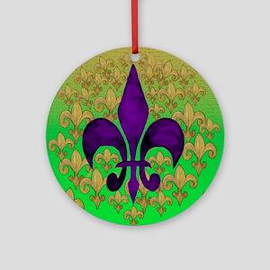 Purple and Gold fleur de lace Round Ornament