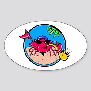 Jazzy Saxophone Crab Oval Sticker