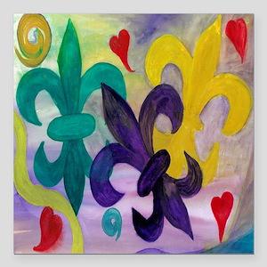 """Mardi Gras Fleur de lis Square Car Magnet 3"""" x 3"""""""