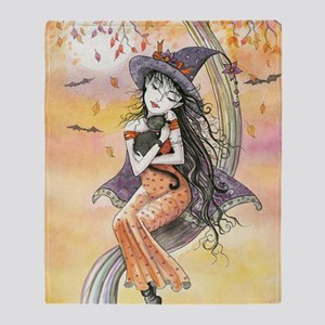 Kiss of October Witch and Black Cat Throw Blanket