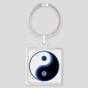 Yin Yang, Blue Square Keychain