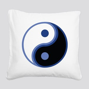 Yin Yang, Blue Square Canvas Pillow