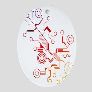 Rainbow Circuit Oval Ornament