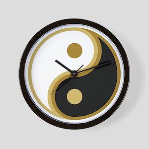 Yin Yang, Gold Wall Clock