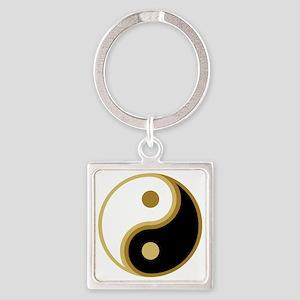Yin Yang, Gold Square Keychain