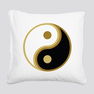 Yin Yang, Gold Square Canvas Pillow