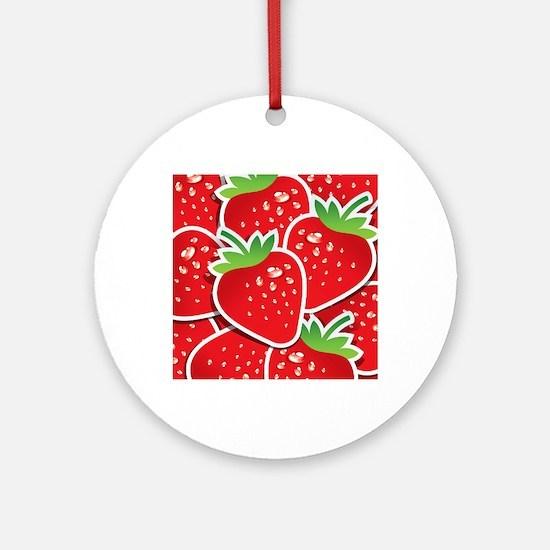 Strawberries Round Ornament