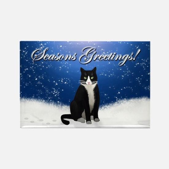 Tuxedo Cat Seasons Greetings Rectangle Magnet