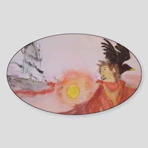 The Dark Tower Watercolor Painting  Sticker (Oval)