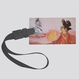 The Dark Tower Watercolor Painti Large Luggage Tag