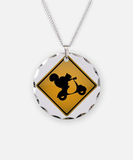 Squirrel on Scooter Warning  Necklace