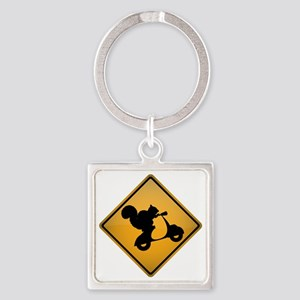 Squirrel on Scooter Warning Sign Square Keychain