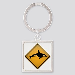 Orca Warning Sign Square Keychain