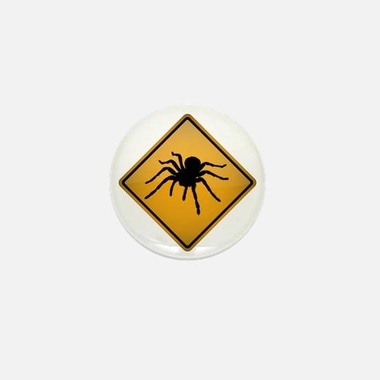 Tarantula Warning Sign Mini Button