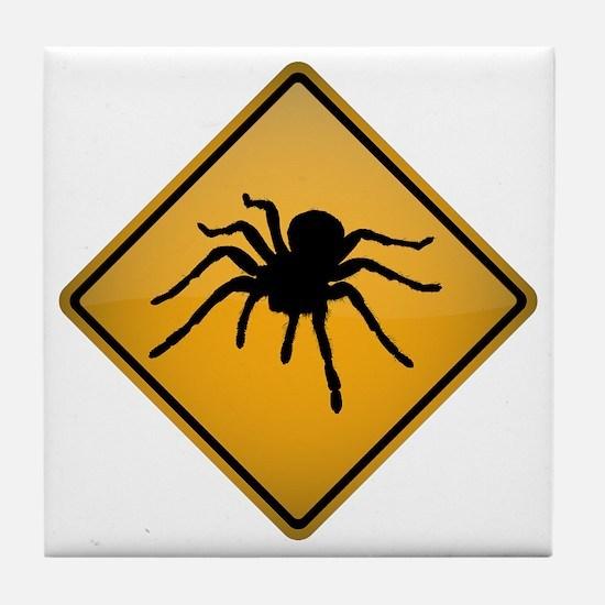 Tarantula Warning Sign Tile Coaster