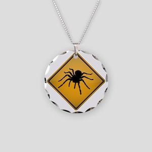 Tarantula Warning Sign Necklace Circle Charm
