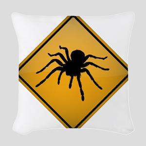 Tarantula Warning Sign Woven Throw Pillow