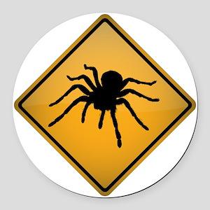 Tarantula Warning Sign Round Car Magnet