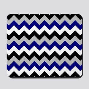 Chevron zigzag design black white grey b Mousepad