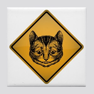 Cheshire Cat Warning Sign Tile Coaster