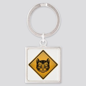 Cheshire Cat Warning Sign Square Keychain