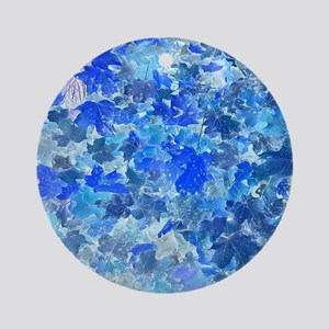 Blue Leaves Round Ornament