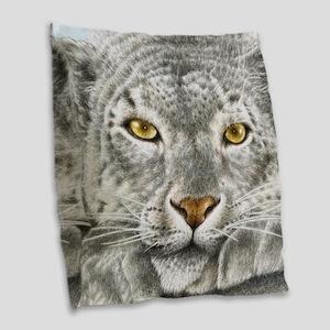 Snow Leopard Burlap Throw Pillow
