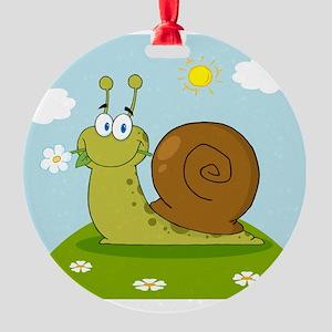 00015_Snail22 Round Ornament