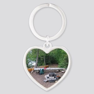Boundary Waters Campsite Heart Keychain