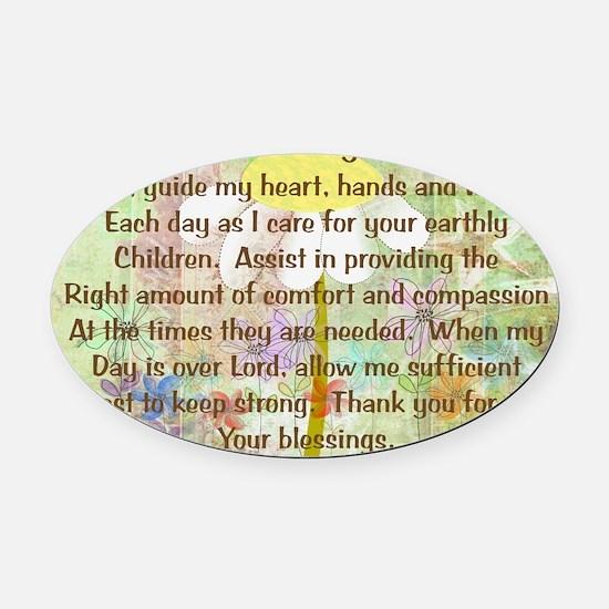 Nurse Prayer Blanket Size Yellow Oval Car Magnet