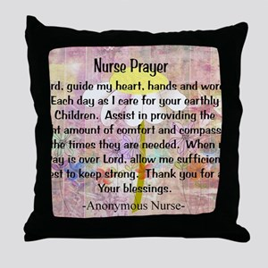 Nurse prayer blanket PINK Throw Pillow