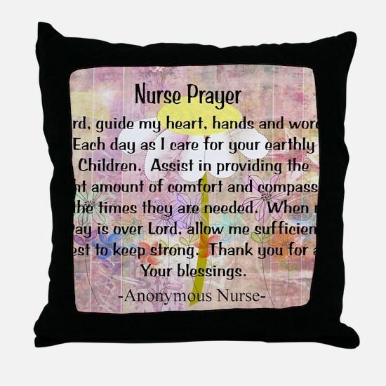 Nurse prayer blanket PINK Throw Pillow